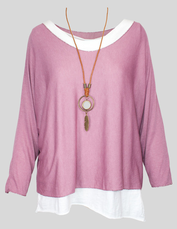 MITZY Roll Sleeve Layered Top With Necklace