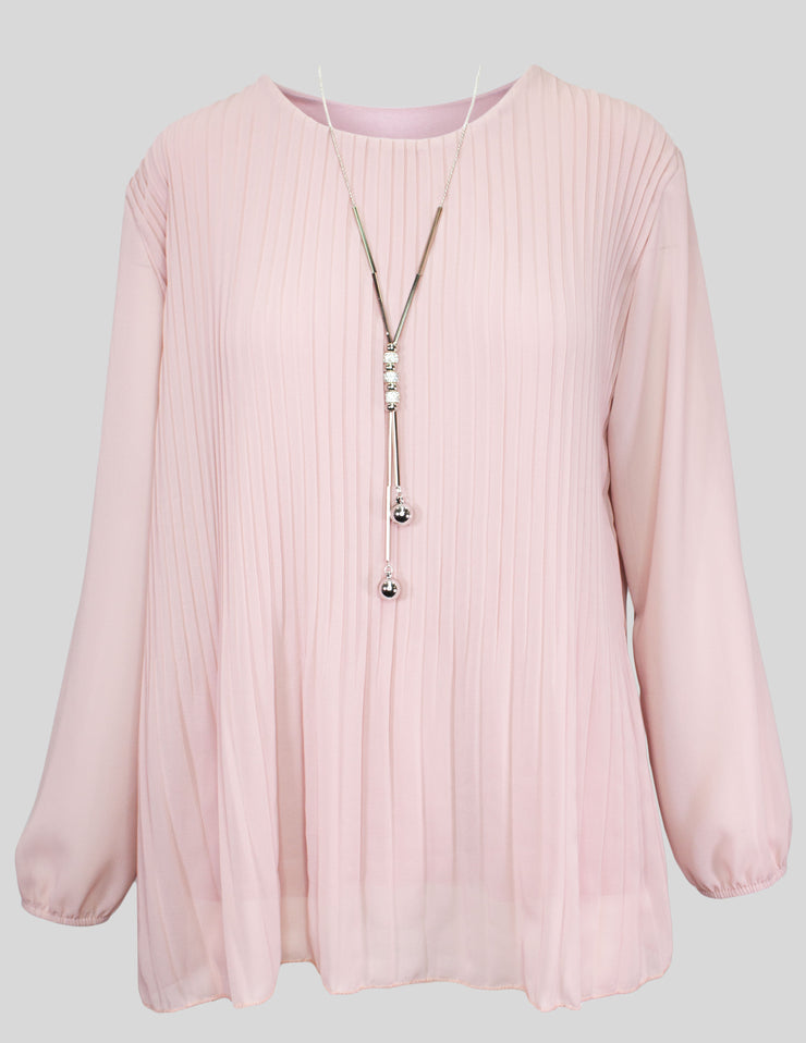MITZY Long Sleeve Pleat Top With Necklace