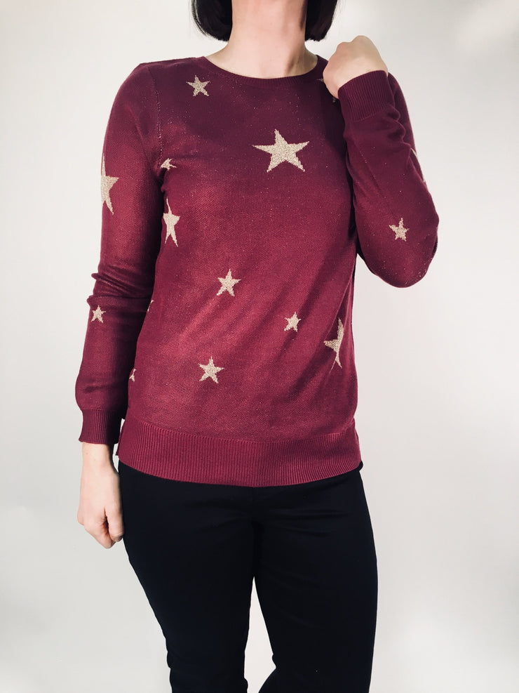 Long Sleeve Lurex Star Jumper