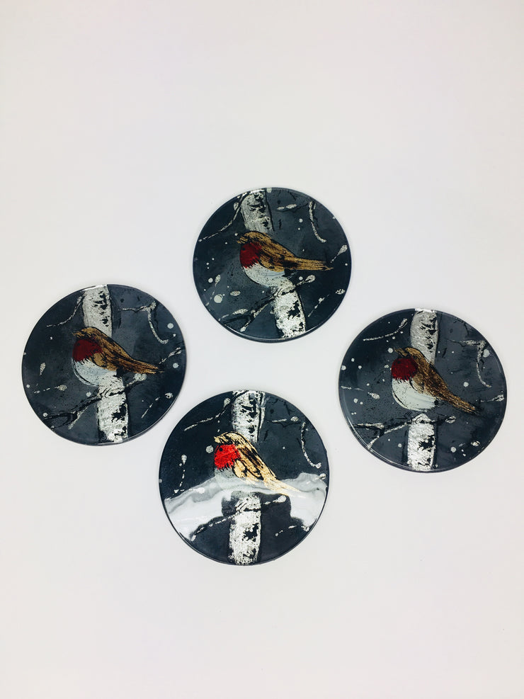Robin set of 4 coasters