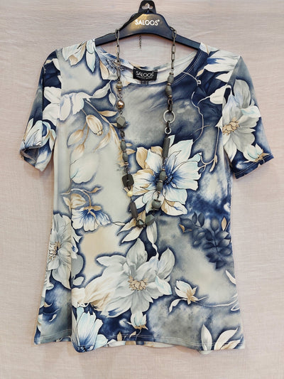 Saloos Short Sleeve Painted Floral Top With Necklace