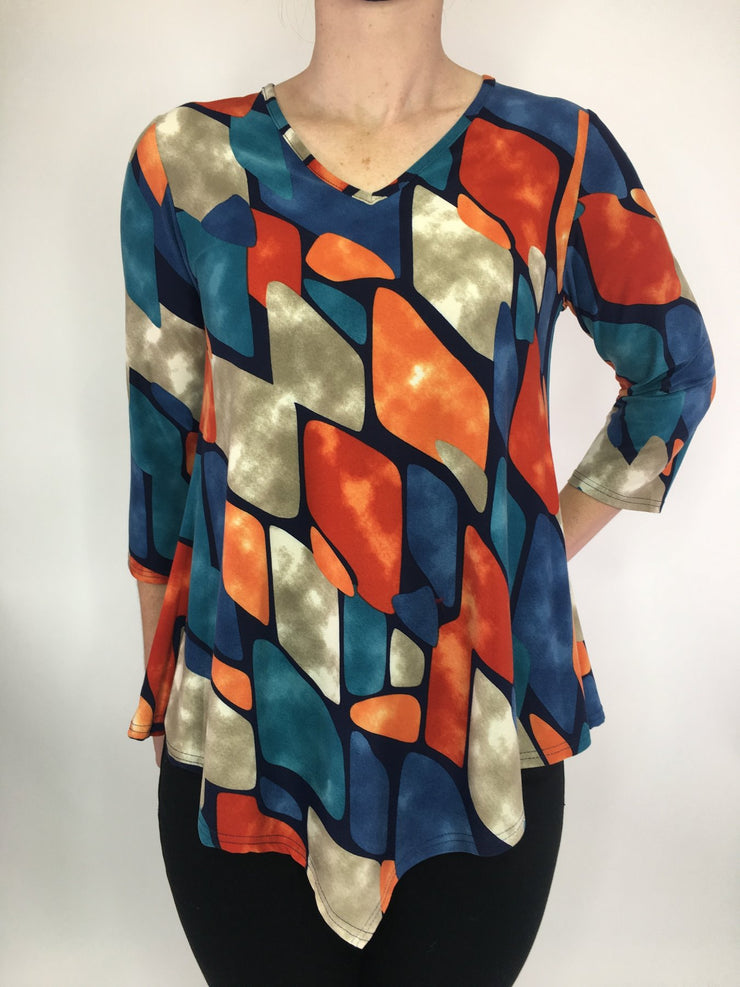 MITZY Soft Touch V Neck Print Top