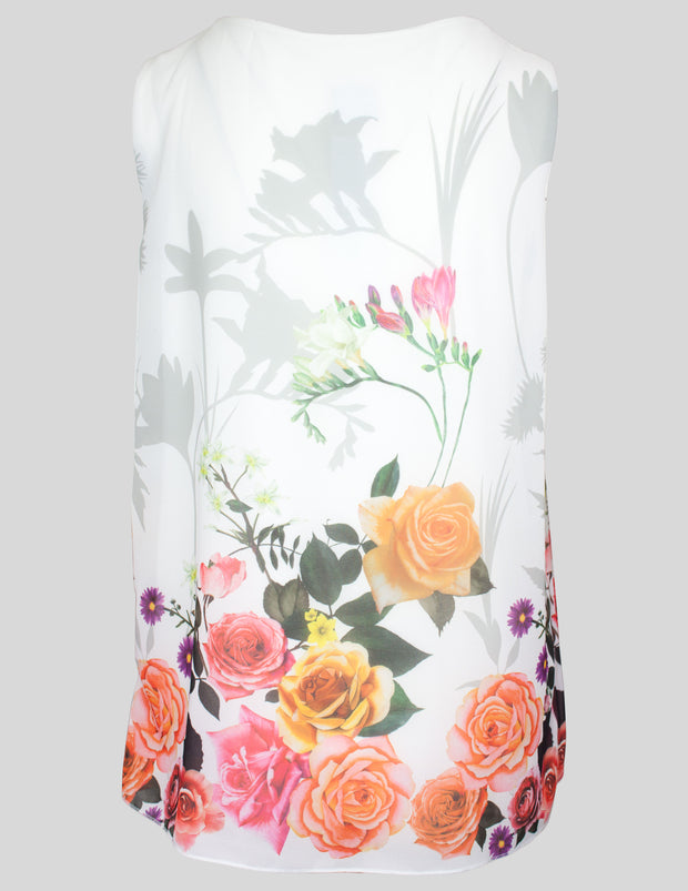 MITZY Sleeveless Rose Border Pleat Blouse