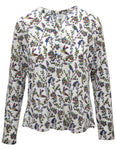 Bird Print Button Detail Blouse