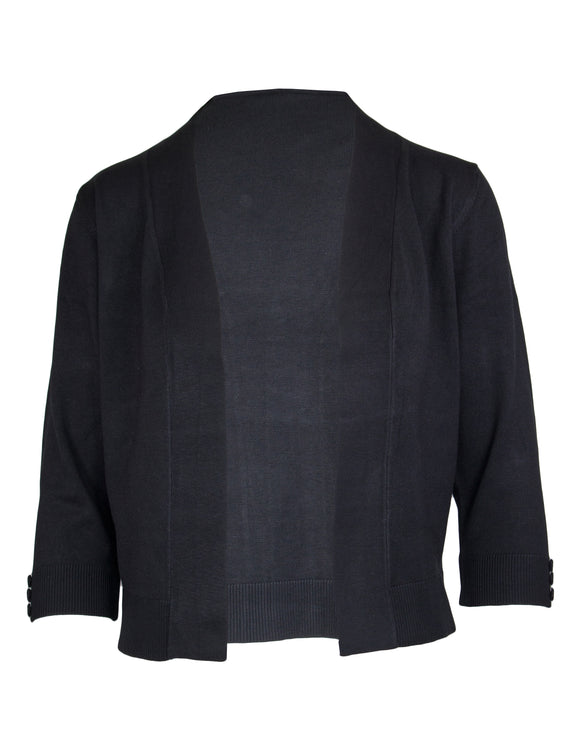 3/4 Sleeve Shrug With Button Detail