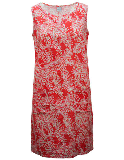 Linen Dress In Palm Print With Pockets