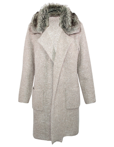 Faux Fur Collar Coatigan