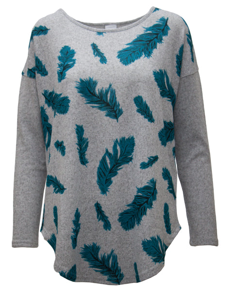 Soft Touch Tunic With Feather Print