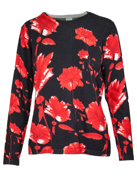Poppy Print Knitted Jumper