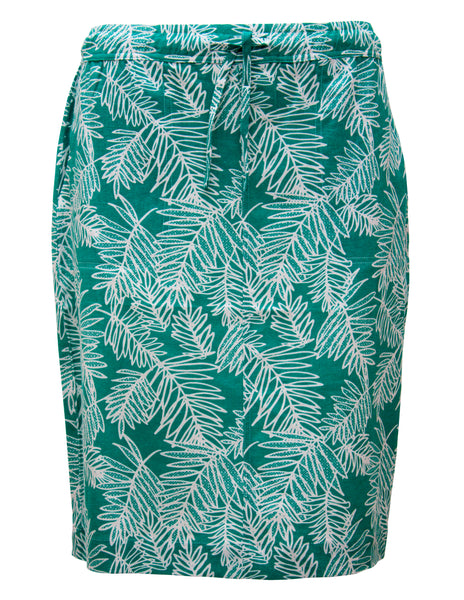 Linen Skirt In Palm Print