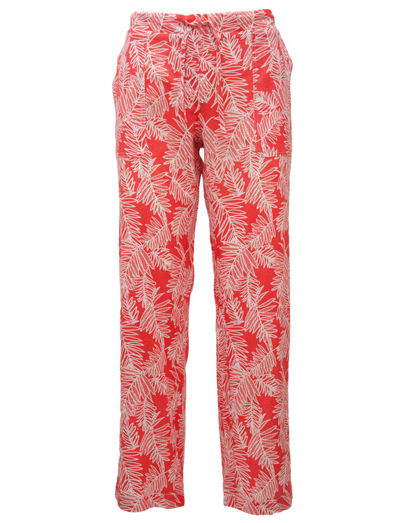 Linen Trousers In Palm Print