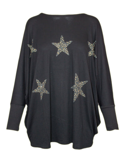 MITZY Scattered Star Stud Batwing Top
