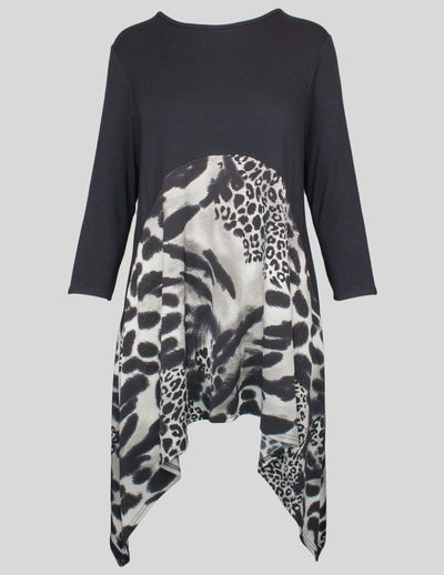 MITZY Animal Print Dipped Hem Top