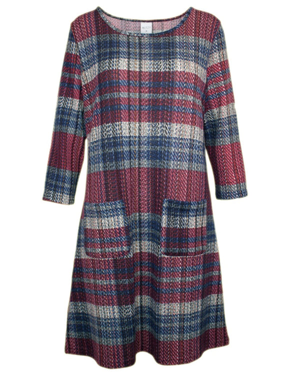 MITZY Brushed Check Shift Dress With Pockets
