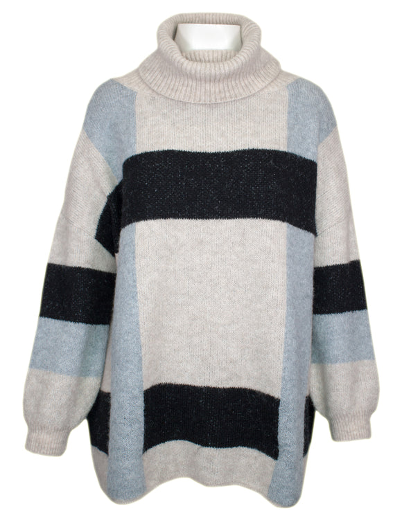 MITZY Cowl Neck Large Check Jumper