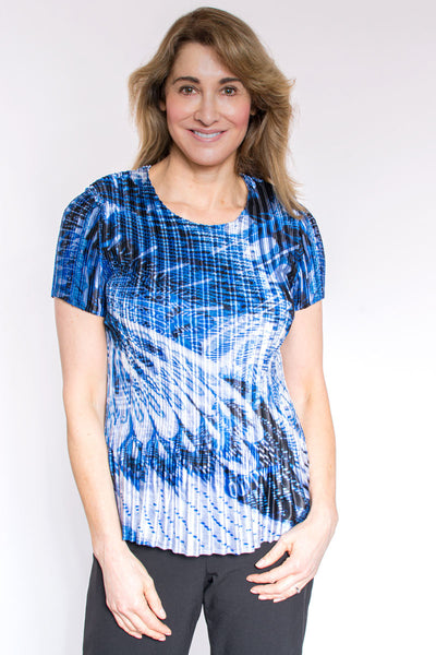 Feather print pleat top