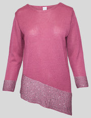 MITZY Diagonal Sequin Filigree Jumper