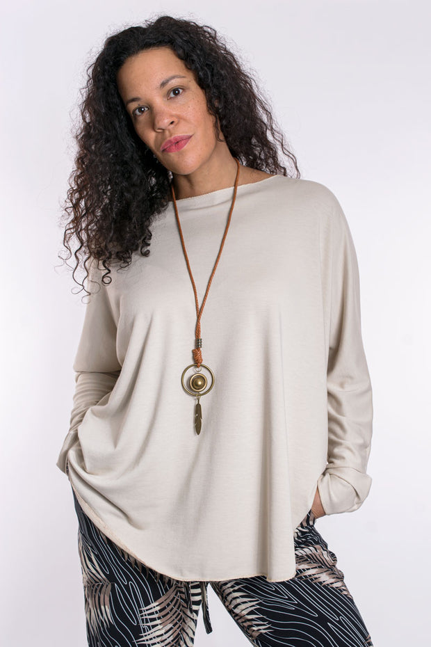 Soft touch top with necklace