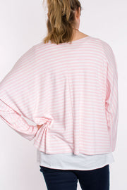 Stripe layered top with necklace