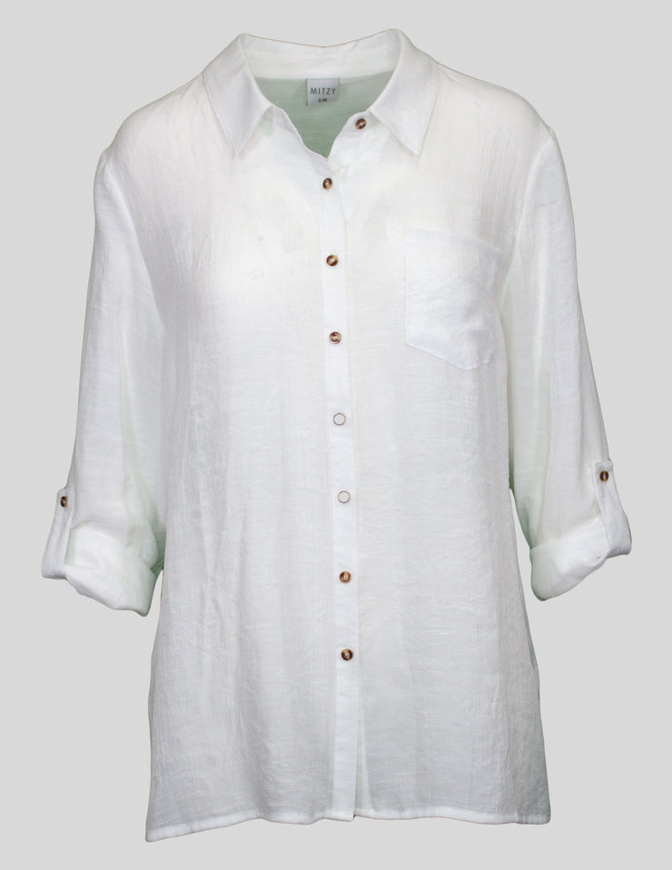 MITZY Plain Button Through Shirt