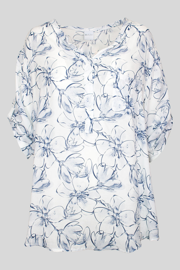 MITZY Floral Outline Blouse