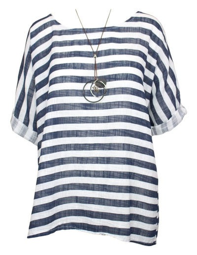 MITZY Stripe Top With Necklace