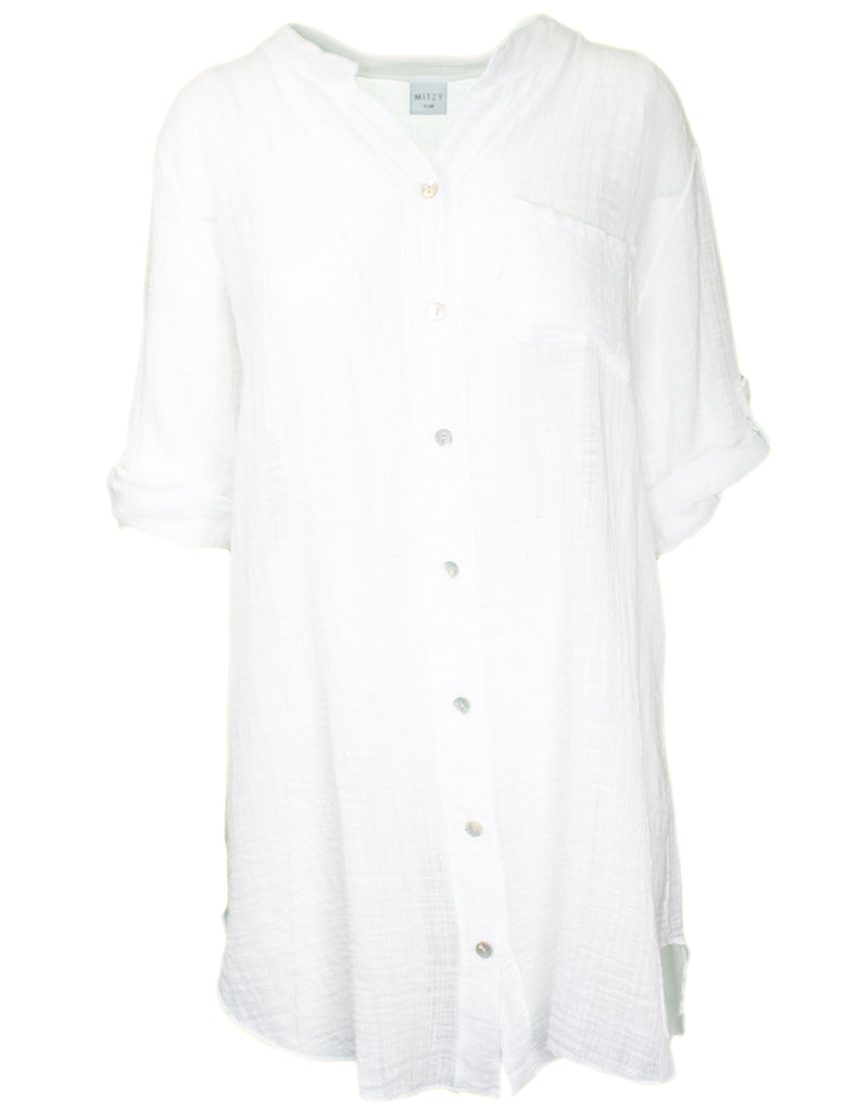MITZY Cotton Tab Sleeve Shirt