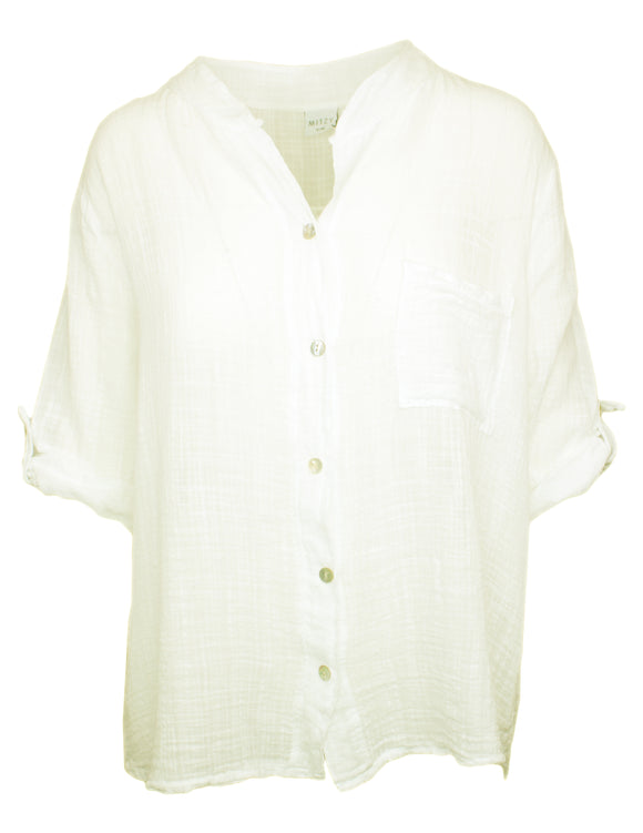 MITZY Tab Sleeve Cotton Shirt
