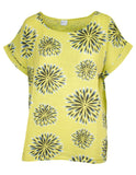 MITZY Stencil Flower Print Top