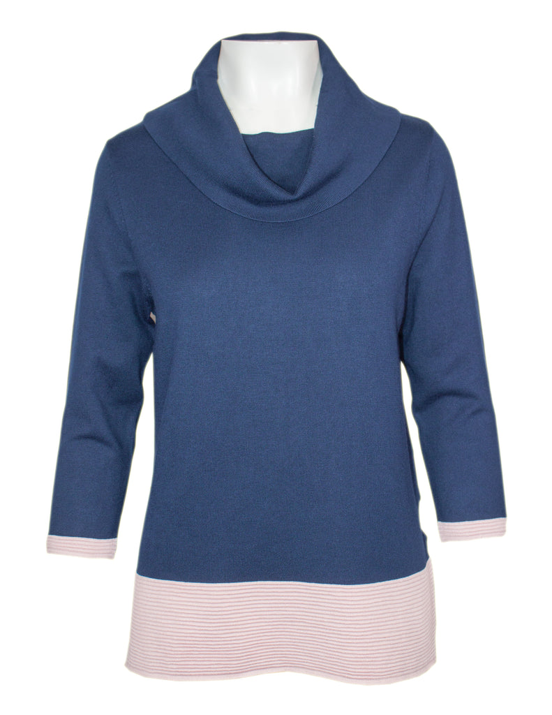MITZY 3/4 Sleeve Contrast Rib Cowl Neck Jumper