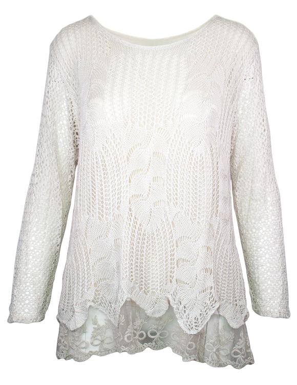 MITZY Long Sleeve Lace Trim Crochet Top