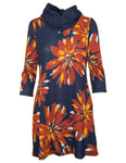 3/4 Sleeve Cowl Neck Dress in Bold Flower Print