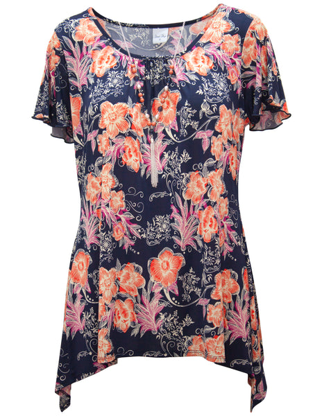 Bold Flower Waterfall Top With Necklace