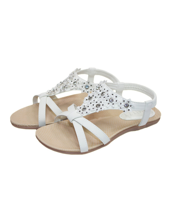 Flower Diamante Across Toe Sandal