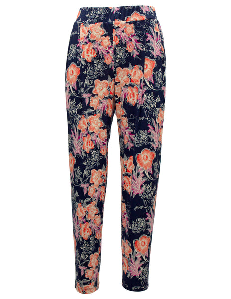 Bold Flower Print Jersey Trousers