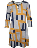 3/4 Sleeve Geo Print Brushed Dress