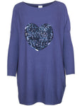 Sequin Heart Oversized Jumper