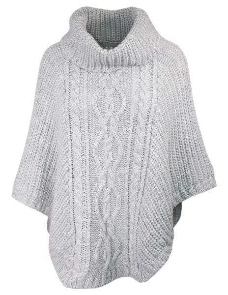 Cable Knit Cowl Poncho