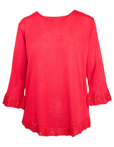 3/4 Sleeve Sequin Hem Jumper