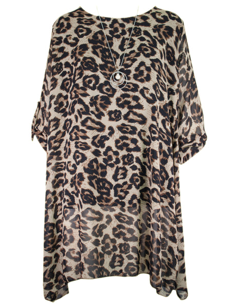 Animal Print Tunic With Necklace