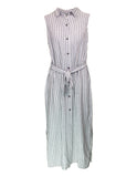 Sleeveless Stripe Linen Shirt Dress