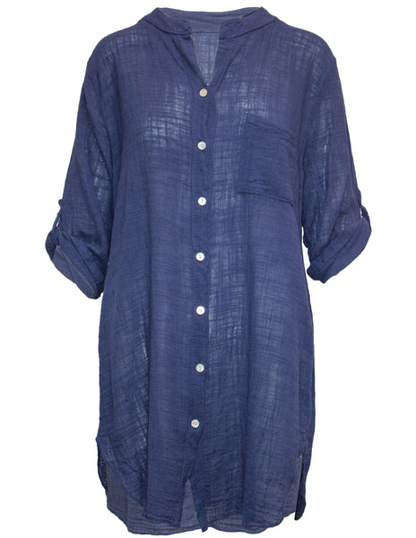 Linen Mix Longline Casual Shirt