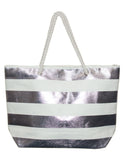 MITZY Metallic Stripe Straw Bag
