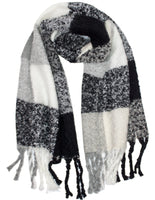 Chunky Check Scarf With Tassel Edge