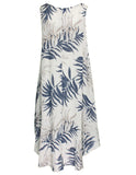 MITZY Linen Leaf Print Cotton Dress