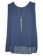 MITZY Sleeveless Pleat Top With Necklace