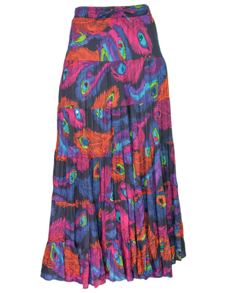 MITZY Peacock Feather Print Tiered Skirt