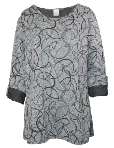 Roll Sleeve Swirl Print Top