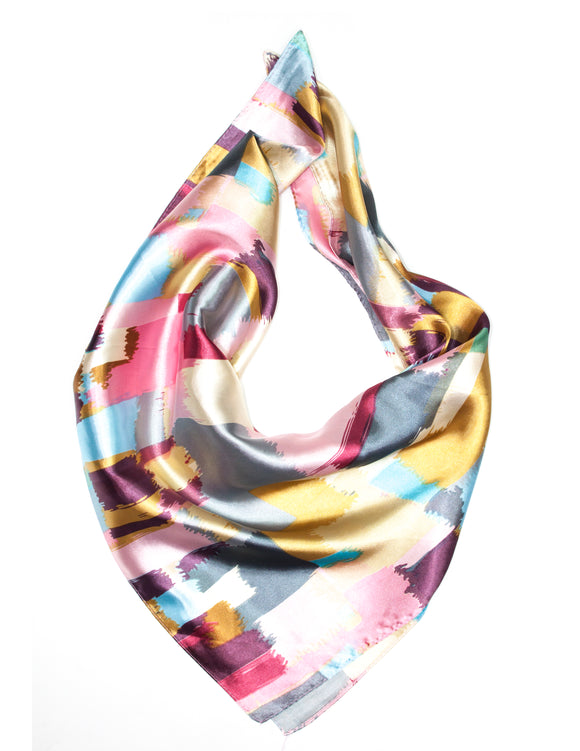 MITZY Abstract Print Satin Square Scarf