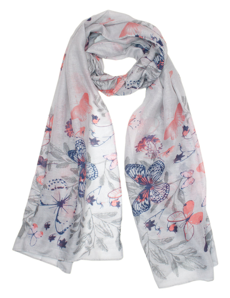 MITZY Butterfly Glitter Print Scarf